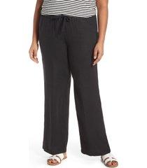 caslon(r) linen blend drawstring pants, size 3x in black at nordstrom