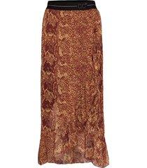 skirt w. pyton print and frill knälång kjol brun coster copenhagen