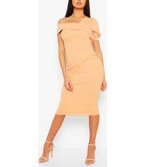 off shoulder puff sleeve midi dress, apricot