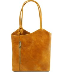 tuscany leather tl141497 patty - borsa donna in pelle convertibile a zaino giallo