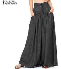 zanzea mujer moda denim negro pantalones azules bolsillos de cintura alta pantalones anchos -negro
