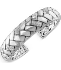 effy diamond bangle braid bracelet (1/3 ct. t.w.) in sterling silver