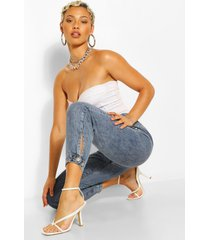 mom jeans met curved detail, middenblauw