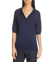 women's judith & charles presto polo pullover sweater, size large - blue