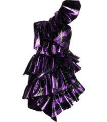 alexandre vauthier violet purple and black mini dress