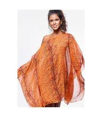 kaftan 101 resort wear vestido crepe estampado animal print laranja