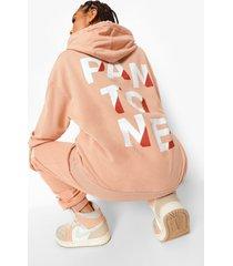 acid wash gebleekte pantone hoodie met voor- en achteropdruk, kameel