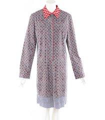 oscar de la renta blue red mixed print cotton shirt dress blue/red sz: l