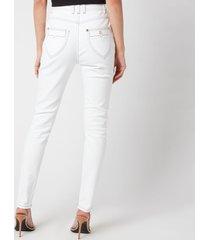 balmain women's high waist top stitched skinny jeans - white - fr 38/uk 10