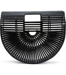 bolsa clutch de bambu isla galerias pequena cor preta
