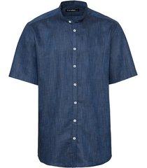 overhemd met korte mouwen met glanseffect van bio-katoen, blauw-gemêleerd s