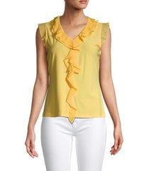 tommy hilfiger women's pysp sleeveless ruffled top - honey - size s