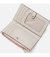 kate spade new york women's spencer small slim bifold wallet - tutu pink/crisp linen
