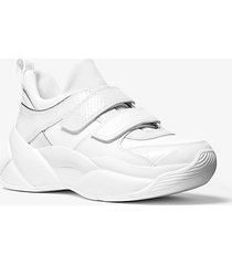mk sneaker keeley in pelle stampa serpente - bianco ottico (bianco) - michael kors