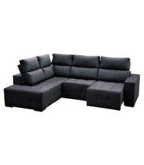 sofá 5 lugares retrátil e reclinável com chaise living brooklyn suede grafite