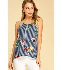 blusa sin mangas con cuello halter y estampado floral de rayas azules de yoins