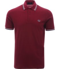 fred perry laurel twin tipped maroon polo top m12 106