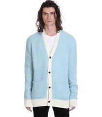 amiri boucle cardigan in cyan wool