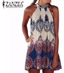 zanzea boho de moda de verano vestido de las mujeres impreso cabestro partido sin mangas de la playa mini vestidos de gran tamaño más el tamaño vestidos -multicolor