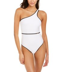 calvin klein belted bound one-shoulder one-piece swimsuit women's swimsuit