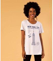 t-shirt alongada estampa new york unica m incolor - kanui