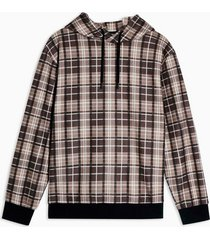 mens stone and black brushed check hoodie