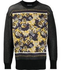 versace jeans couture barocco-print mesh sweatshirt - black