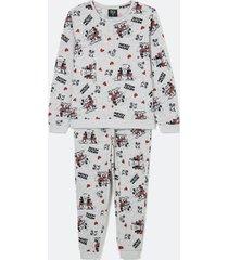 pijama malha tricô manga longa e calça estampa mickey