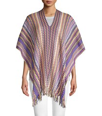 knit fringed poncho