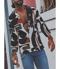 incerun hombre vacaciones color block patchwork impreso manga larga camisa