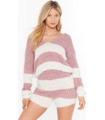 womens stripe tape yarn knitted lounge top & short set - mauve