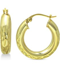 """giani bernini small textured hoop earrings in 18k gold-plated sterling silver, 1"""" created for macy's"""