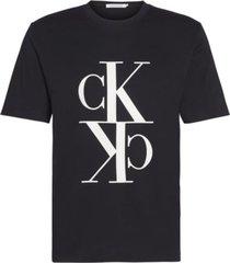 camiseta de algodón orgánico con monograma negro calvin klein
