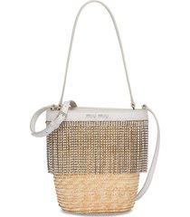 miu miu crystal-embellished straw bucket bag - neutrals