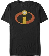 disney pixar men's incredibles distressed emblem, short sleeve t-shirt