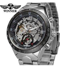 reloj automático winner hombre diseño skeleton – plateado negro