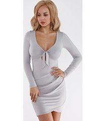 mini vestidos ajustados con dobladillo cruzado en la parte delantera con lazo gris