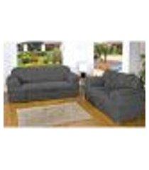 capa de sofá cinza 3 e 2 lugares com elástico