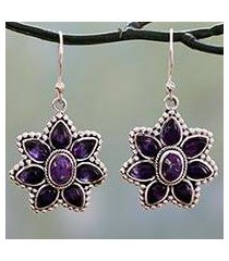 amethyst dangle earrings, 'ruffled petals' (india)