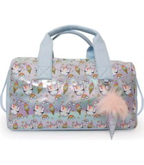 omg accessories sweets unicorn print metallic duffle bag