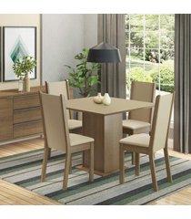 conjunto sala de jantar madesa alana mesa tampo de madeira com 4 cadeiras marrom - marrom - dafiti