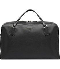prada zipped logo travel bag - black