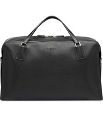 prada zipped logo travel bag - black