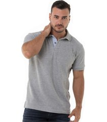 camiseta polo hamer , unicolor basica, para hombre color gris