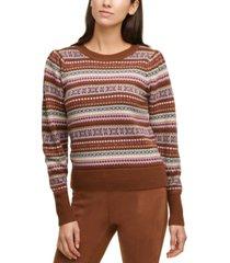 calvin klein fair isle printed crewneck sweater