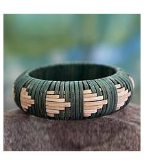 handcrafted rattan bangle bracelet, 'toward the forest' (india)