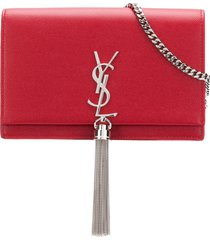 saint laurent small monogram tassel chain wallet - red