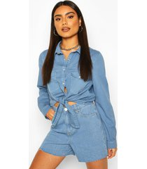 tie front western denim shirt, pale blue