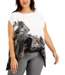 alfani plus size printed flowy top, created for macy's