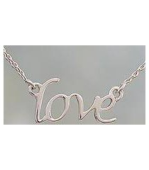 sterling silver pendant necklace, 'love note' (india)